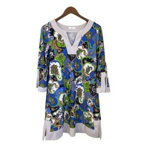 Jude Connally Tunic Dress White Blue Paisley